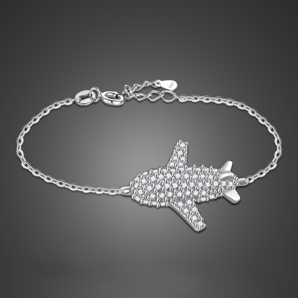 Initial Chic Silver Jewelry accessories women's 925 Sterling Silver novelty Bracelet Airplane Pendant Silver Bracelet Does image