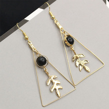 Vintage Hollow Triangle Round Beads Leaf Drop Earrings for Women Geometric Temperament Long Dangle Earrings Girls Jewelry WD519