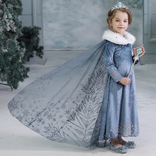 Ins Fancy Cosplay Princess Dress Anna Elsa Kids Costume Snow Print Party Dress Vestidos Children Girls Winter clothing DR19179(China)