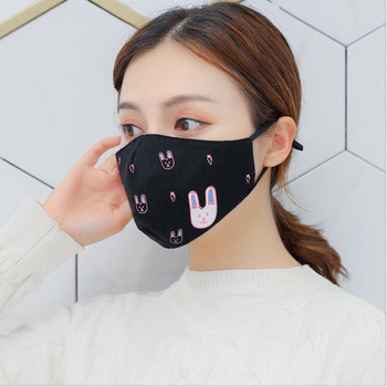 Windproof Adjustable Cute Rabbit Mouth Printed Face Mask For Pollution And Dust