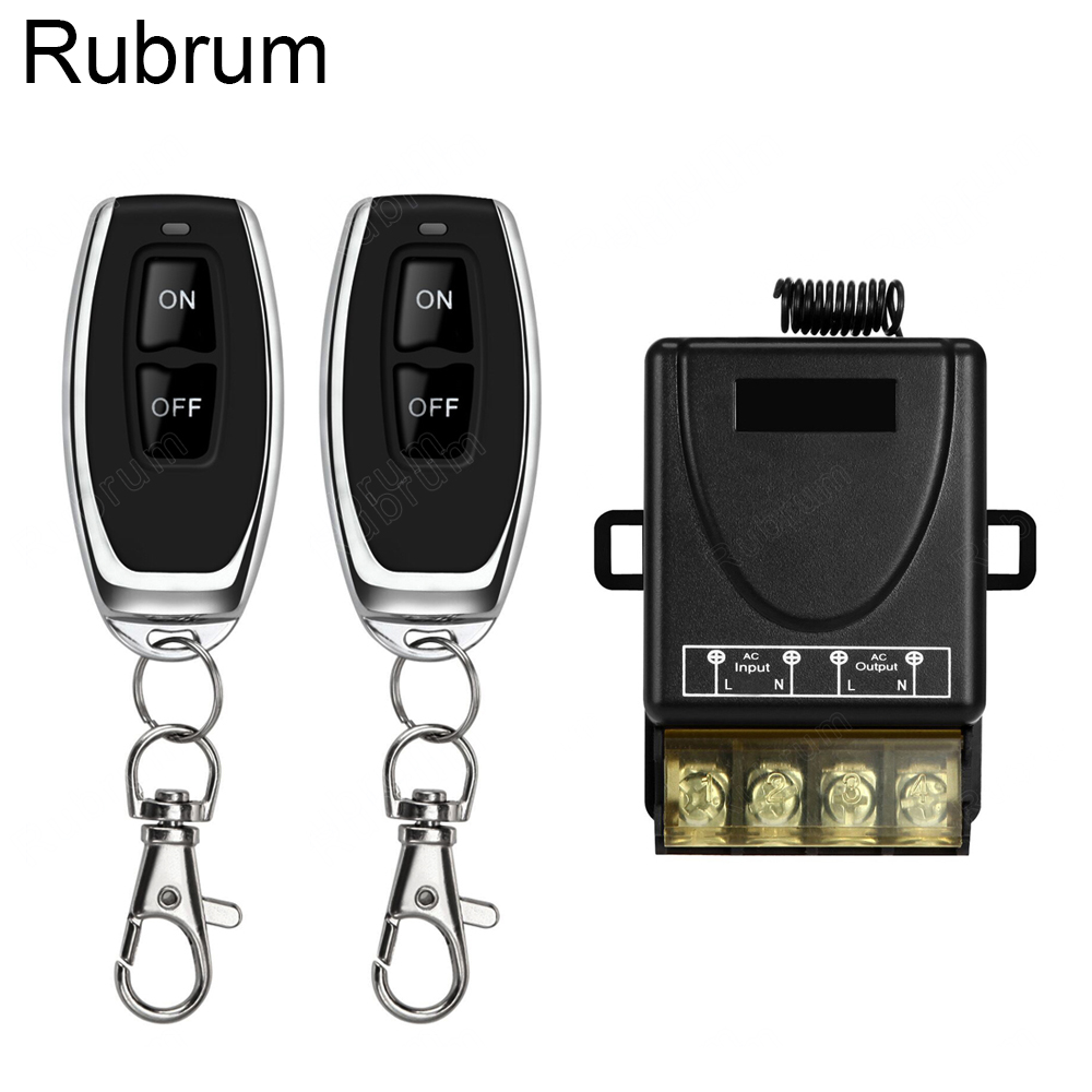 Rubrum <font><b>433Mhz</b></font> Wireless Remote Control Switch <font><b>AC</b></font> <font><b>220V</b></font> <font><b>1CH</b></font> 30A <font><b>RF</b></font> <font><b>Relay</b></font> Receiver Module & 2 Button Remote Control For Water Pump image