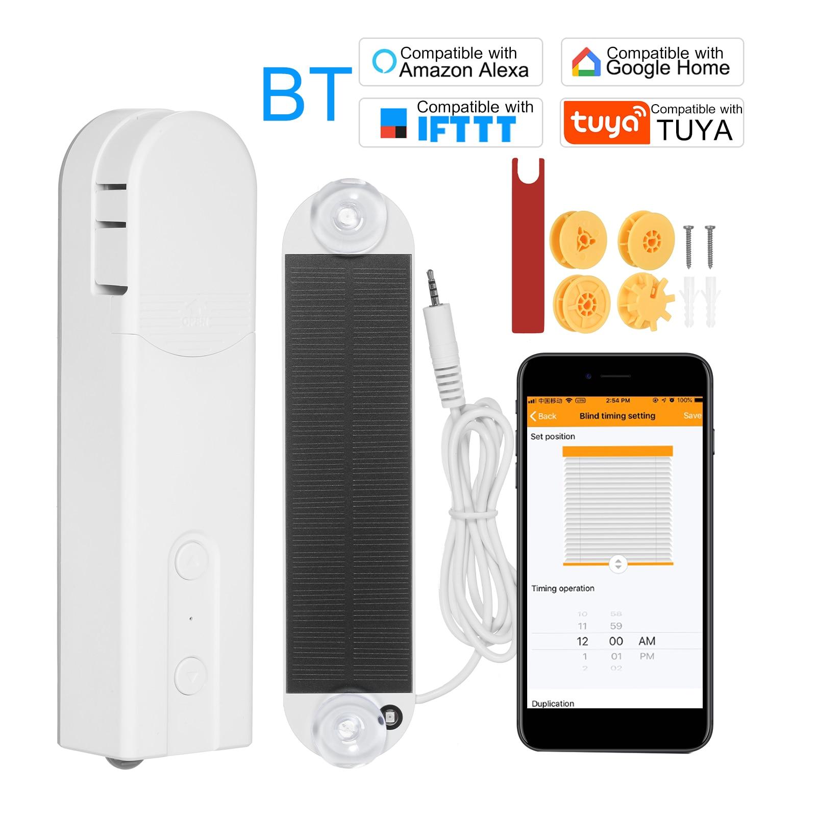 Solar Powered BT Control Smart Blinds Drive Motor Tuya WiFi Motorized Chain Roller Voice Control Shade for Alexa Google