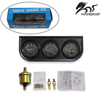 Kit Triple de medidor de temperatura de aceite de 52mm, indicador de temperatura de agua, presión de aceite con Sensor, voltímetro, medidor 3 en 1 para coche
