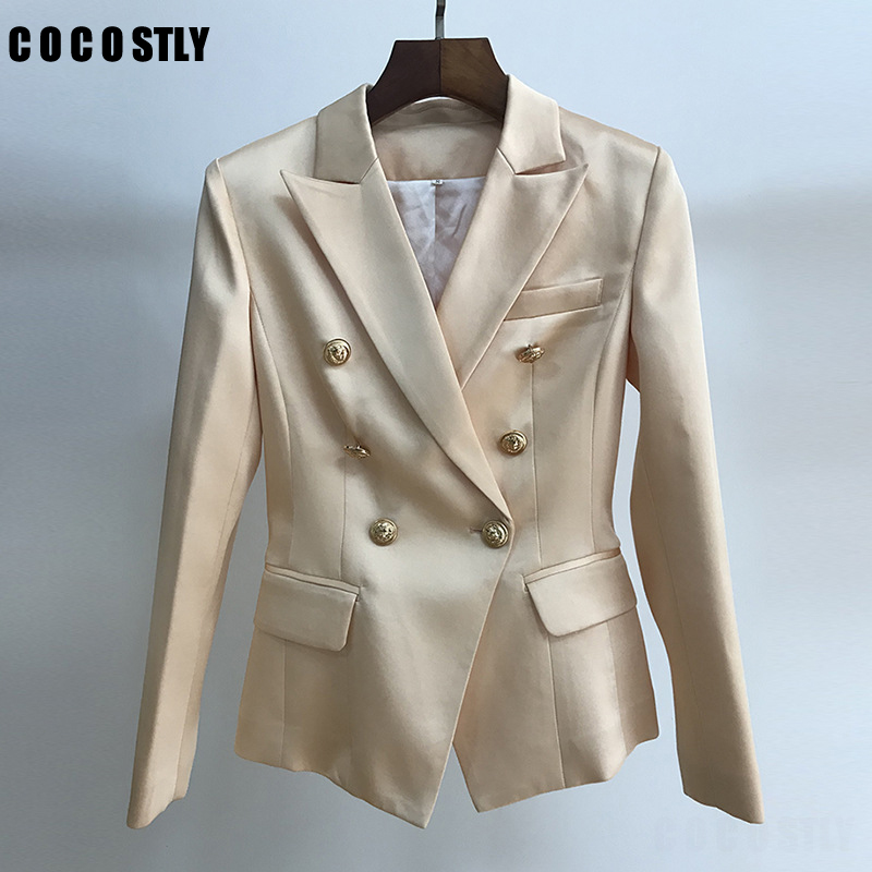 High Quality Autumn Suit For Women Double Breasted Lion Button Satin Office Lady Blazers Feminino Outwear Coat Female Mujer