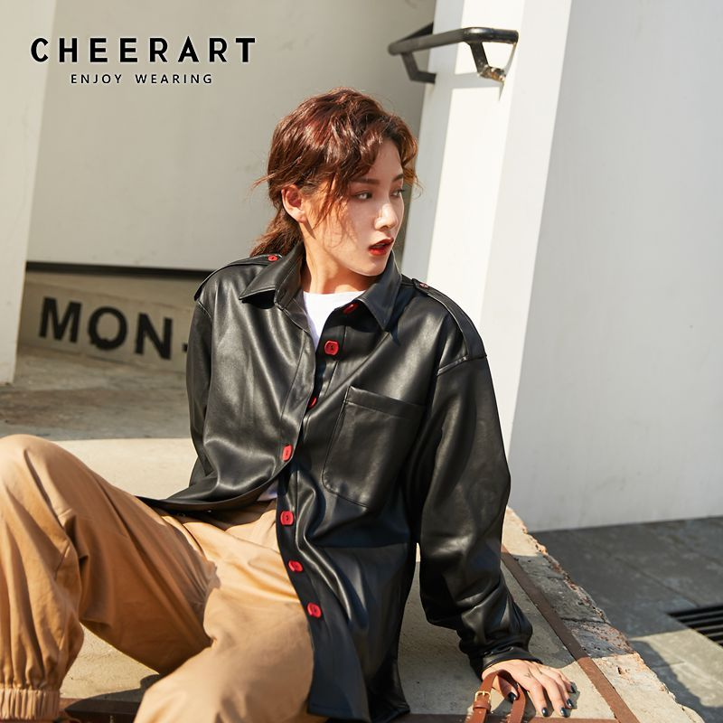 CHEERART Black Faux   Leather   Jacket Women Pu   Leather   Coat Plus Size Red Button Up Long   Leather   Coat Collar Jacket 2019 Autumn