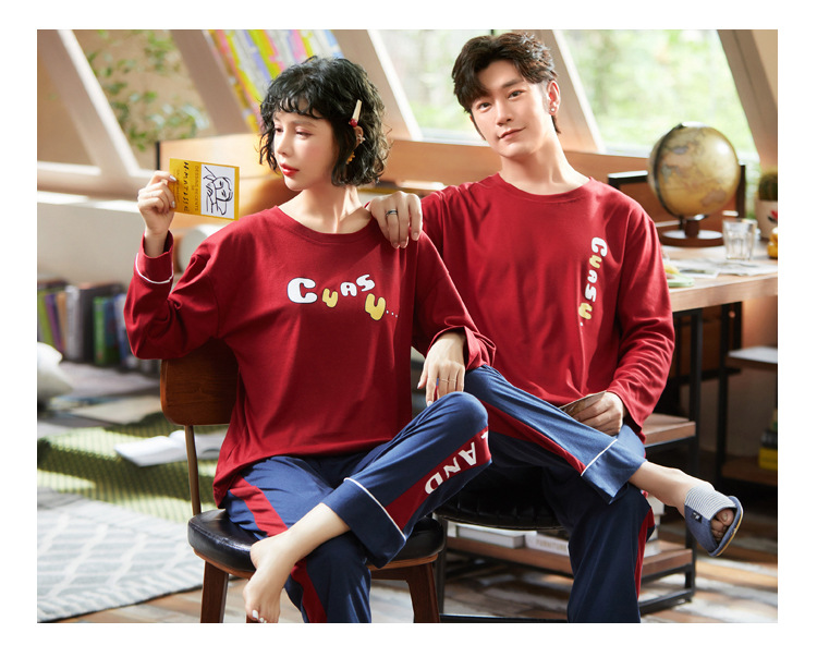 New Letter Men Pyjamas Suit Autumn Couple Pajamas Long Sleeve Pijama For Male Plus Size Sleep Clothing Cotton Casual Sleepwear