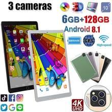 2021 android 9.0 os tablet pc frete grátis câmeras duplas 5 mp pixels 6g + 128gb rom bluetooth 4g wifi gps duplo sim comprimidos 10.1
