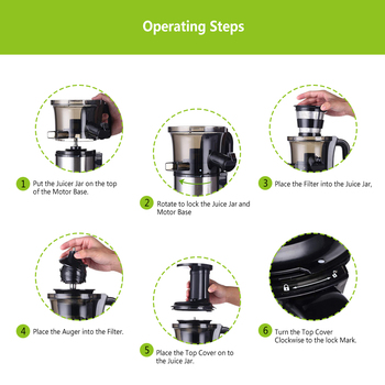 200W 40RPM Stainless Steel Masticating Slow Auger Juicer Fruit and Vegetable Juice Extractor Compact Cold Press Juicer Machine 4