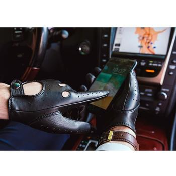 finished Harssidanzar Mens Lambskin  Leather Driving Gloves Unlined Vintage Finished Touchscreen