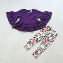 สินค้าใหม่ฤดูใบไม้ร่วง/ฤดูหนาวชุดเด็กทารกดอกไม้สีม่วงดอกไม้ผ้าฝ้ายผ้าไหมเด็กเสื้อผ้า ruffles boutique กางเกงชุด