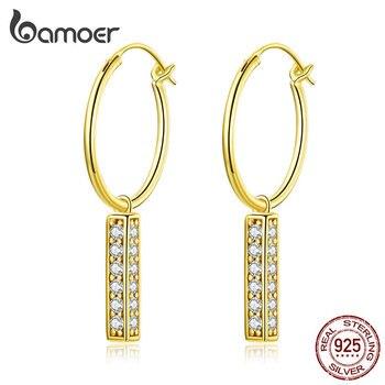 Bamoer 925 пробы серебряные висячие серьги с очаровательными эффектными свадебными висячими серьгами для женщин Brincos 2019 Новинка Bijoux BSE296
