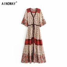 Vintage chic women vestidos red Floral print bat sleeve beach Bohemian rayon cotton maxi dresses Ladies V neck Tassel Boho dress