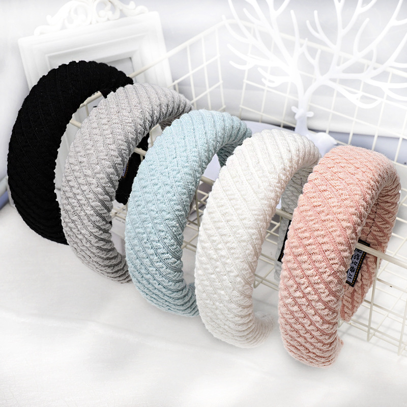 Fashion Wide Knitted Padded Headbands For Women Girls Solid Striped Sponge Hairband Hairhoop Winter Fabric Hair Accessories