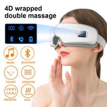 Nowy 4D Bluetooth oczy masażer muzyka masaż ogrzewanie elektryczna inteligentna maska do snu poduszka powietrzna wibracje przeciwzmarszczkowe pielęgnacja oczu urządzenie