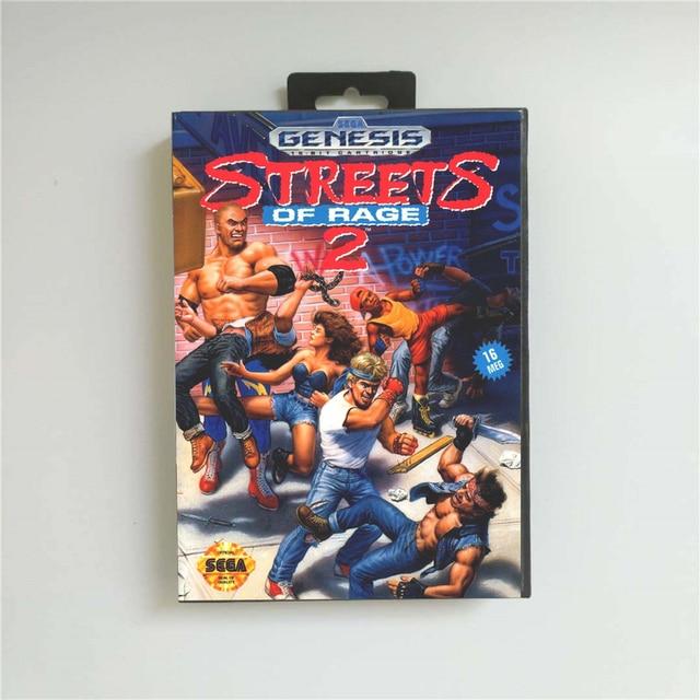 Streets of Rage 2   USA Della Copertura Con La Scatola Al Minuto 16 Bit MD Carta del Gioco per Sega Megadrive Genesis Video console di gioco