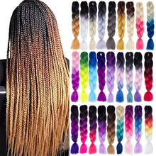 Hair-Extensions Braiding Jumbo Blonde Color Ombre Synthetic 24inch Yellow Green Pink