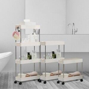 Полка для хранения с 2/3/4 слоями, кухонная тонкая раздвижная башня, подвижная сборка, Пластиковая Полка для ванной, колеса, компактный органа...