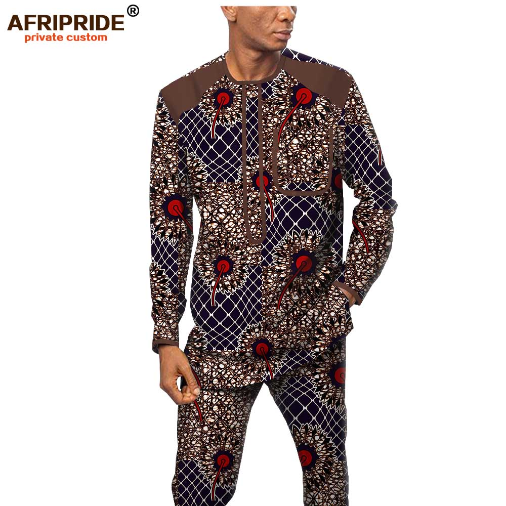 African Men Clothing Set Print Shirts Ankara Pants 2 Piece Set Dashiki Outfit Wax Attire Tribal Wear Set AFRIPRIDE A1916062B