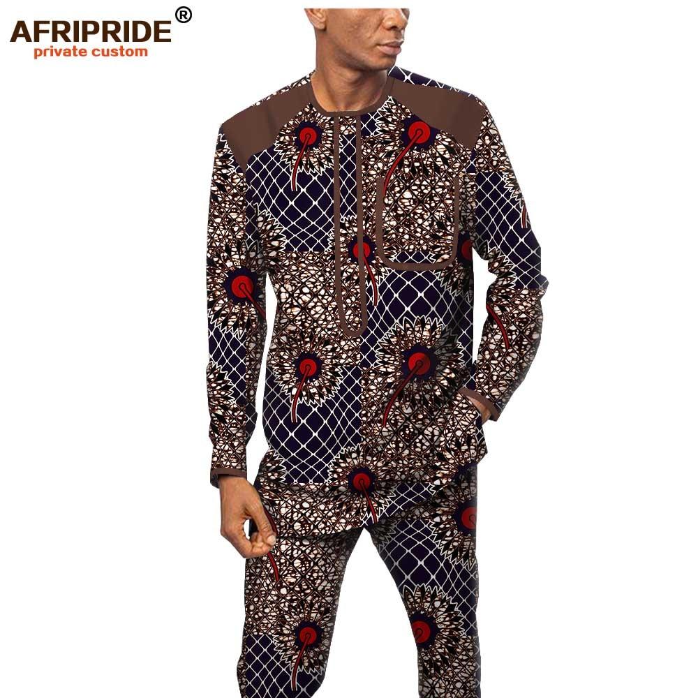 African Men Clothing Set Print Shirts Ankara Pants 2 Piece Set Dashiki Outfit Wax Attire Tribal Wear Set AFRIPRIDE A1916062B