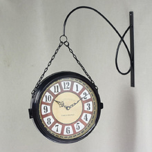 European-style iron double-sided black metal wall clock / garden glass face 2612