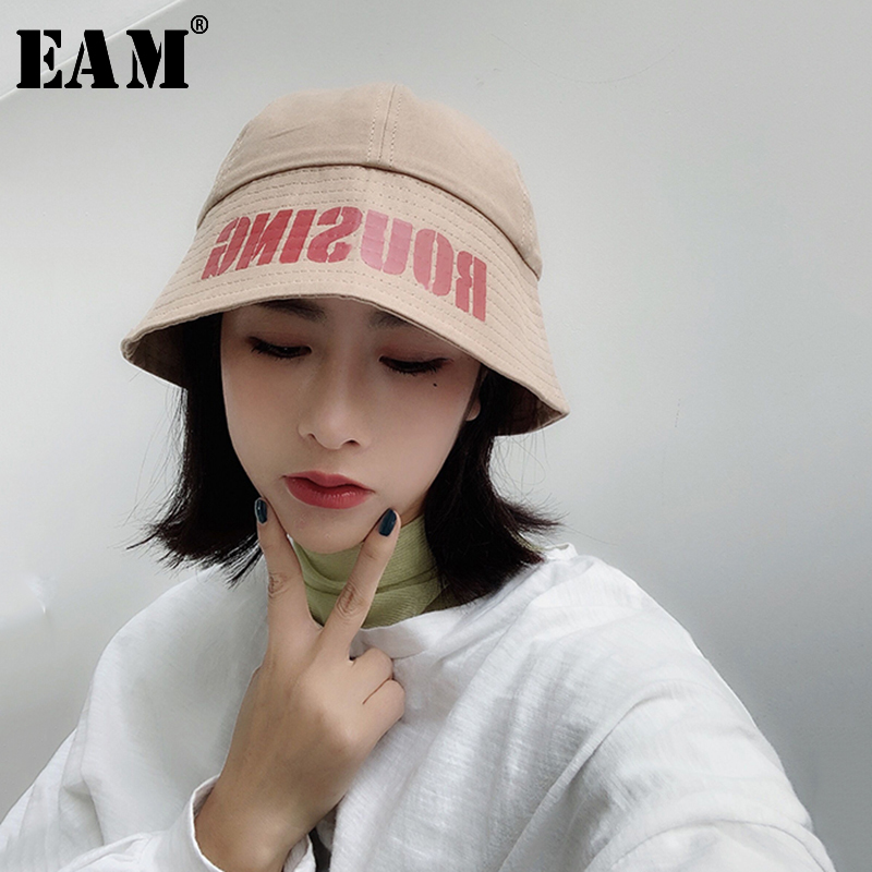 [EAM] 2020 New Spring Summer Round Dome Temperament Letter Printed  Black Fishermen Hat Women Fashion Tide All-match JS721