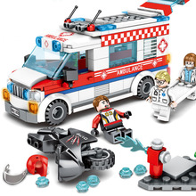 Toys For Children Series City Ambulance Model Kit Compatible Legoing Diy Assembled Educational Building Blocks Brick Kids O06 building blocks girls series the heartlake grand hotel model finger brick compatible 41101 educational toys for kids