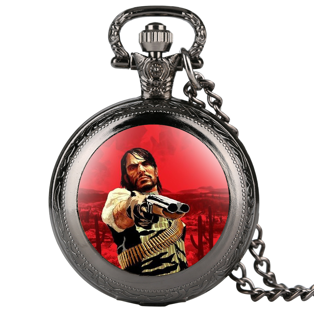 Cool Fashion Red Dead Theme Quartz Pocket Watch Mens Women Necklace Pendant Chain Watches Steampunk Clock Gift Reloj De Bolsillo