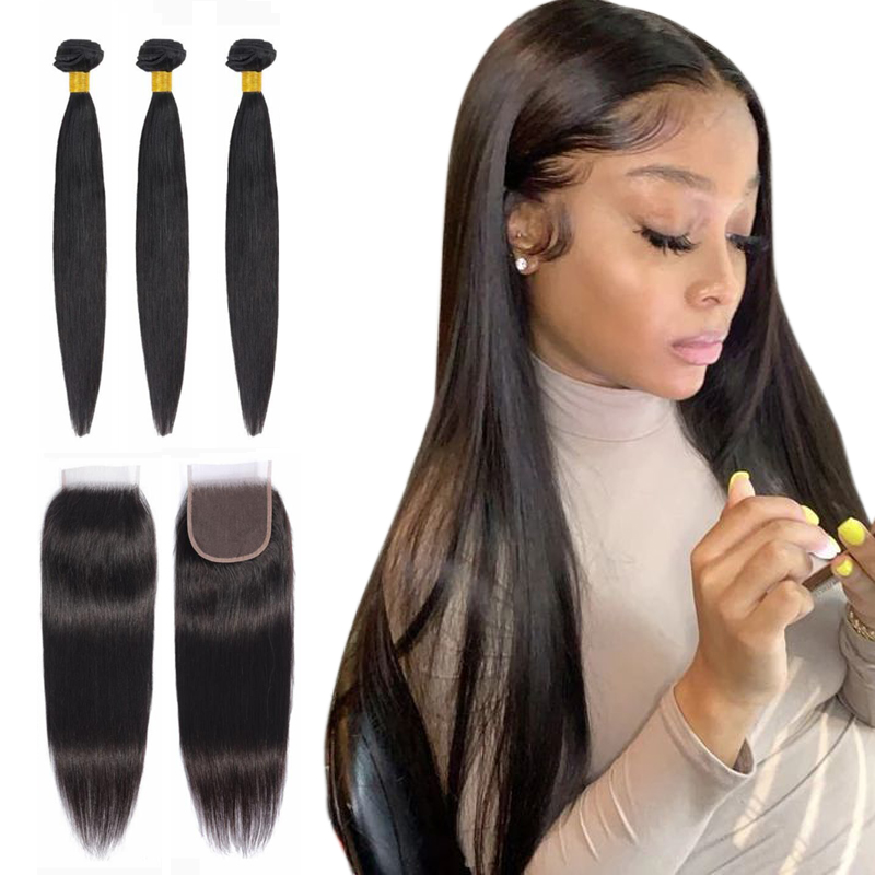 Peruvian Hair Bundles With Closure Straight Human Hair Bundles With Lace Closure Non Remy Hair Weave Bundles Natural Color