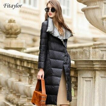 Fitaylor femmes doudoune Long manteau hiver chaud Double face Ultra léger blanc canard vers le bas Parka femme grande taille neige Outwear