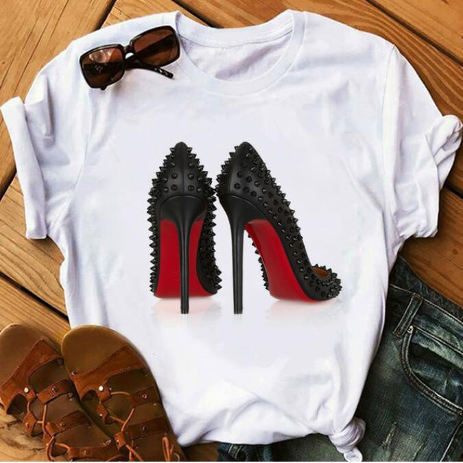Newest High Heels Shoes Print Vogue T Shirt Femme Funny T Shirt Women Hip Hop Punk Shirt Streetwear