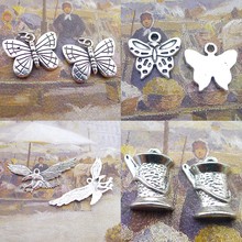 BANMAR 10pcs Alloy Charms Butterfly Eagle Sewing silver plated Pendant For Jewelry Making L22