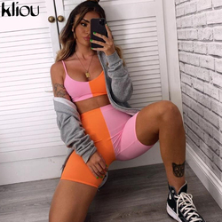 Kliou women Contrast color patchwork 2 pieces set sleeveless strap crop top high waist biker shorts suit 2020 summer outfit