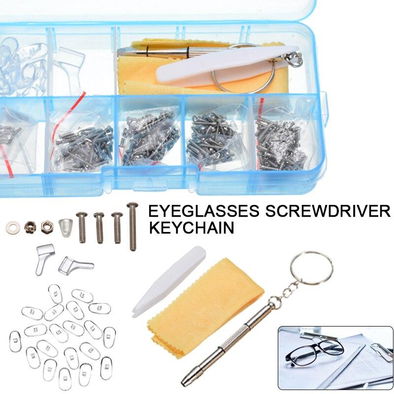 Spectacle Glasses Repair Tool Kit Silicone Nose Pad Sunglasses Eyeglass Screw Screwdriver Repair Tiny Tool With Tweezer