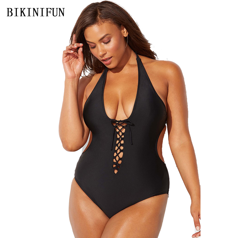 New Sexy Plus Size One Piece Suit Women Strappy Bandage Swimsuit M-5XL Solid Color Monokini Girl Backless Bathing Suit Beachwear
