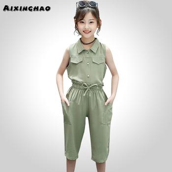Ubrania dla dzieci jednokolorowa bluza + spodnie długości łydki 2 szt Garnitur dla dziewczynek bez rękawów odzież dla dziewczynek w stylu casual letnia odzież dla dziewczynek tanie i dobre opinie AIXINGHAO Moda Skręcić w dół kołnierz Zestawy Pojedyncze piersi 0284627 COTTON Poliester Dziewczyny REGULAR Pasuje prawda na wymiar weź swój normalny rozmiar
