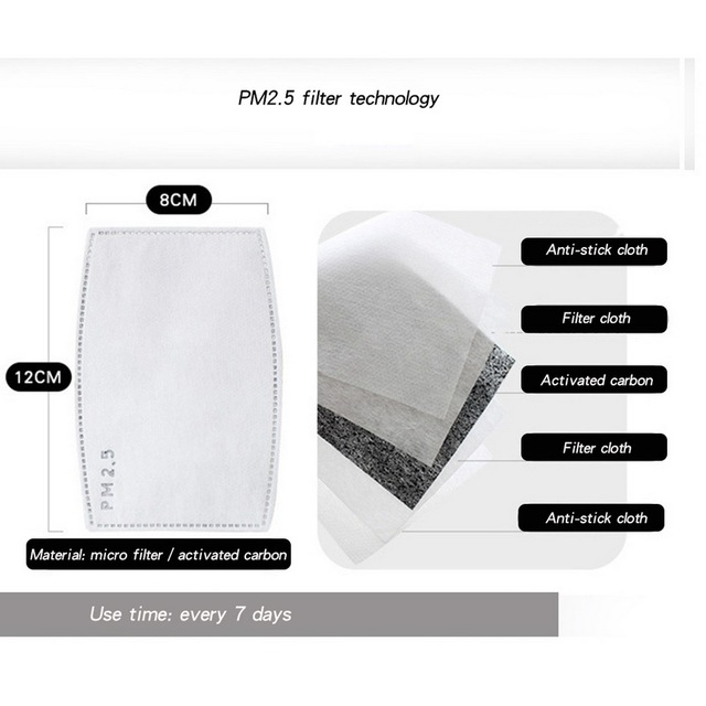 Mouth Mask With filter Anti Pollution PM2.5 Dust Respirator Washable Reusable Masks Cotton Unisex Mouth protective mask 1