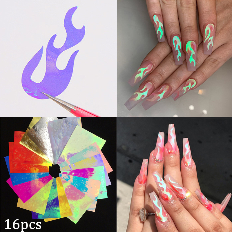 16pcs 3D Holographic Fire Flame Nail Vinyls Stickers Glitter Laser Flames Nail Art Foil Transfer Sticker Decal Decorations Set