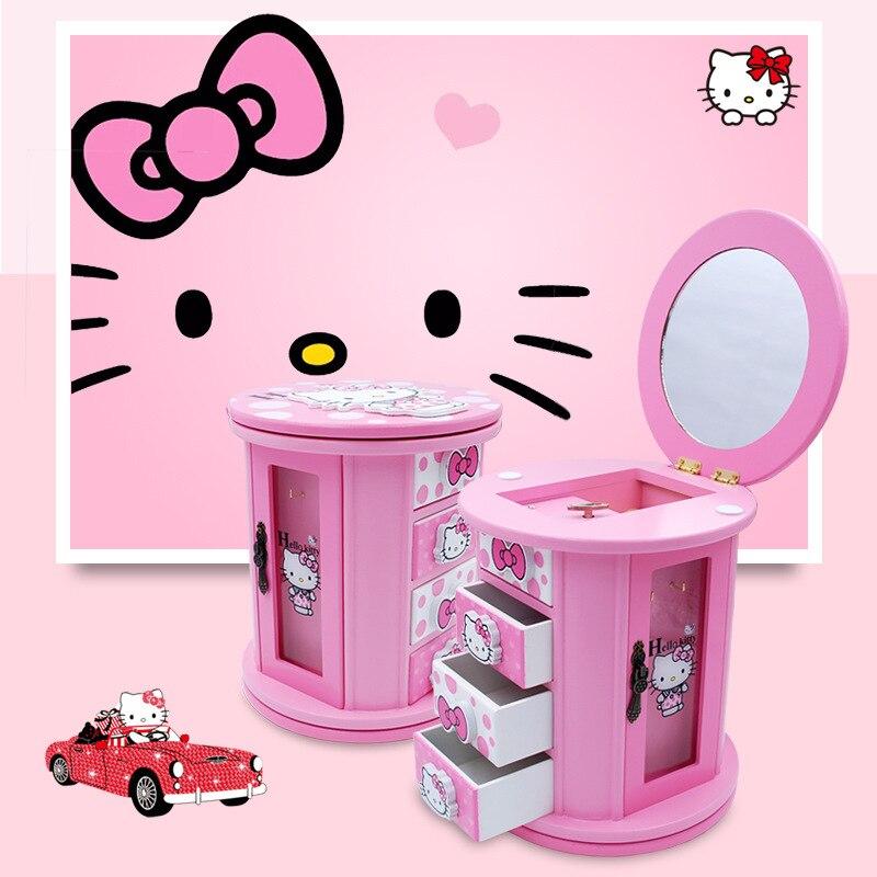 Hello Kitty rotatif en bois boîte à bijoux avec musique KT chat bureau perle conteneurs de stockage bacs cosmétique tiroir maquillage organisateur