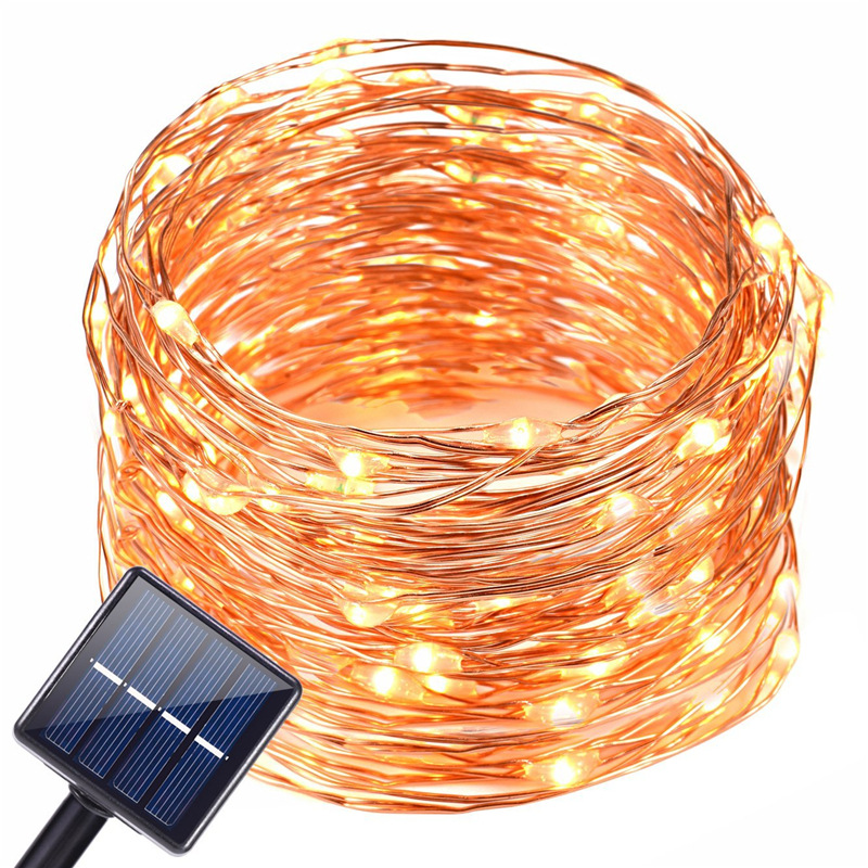 10M 20M Solar LED String Copper Wire Night Light Solar Garland 100 LED Fairy Lights Outdoor Festoon Christmas Wedding Decoration