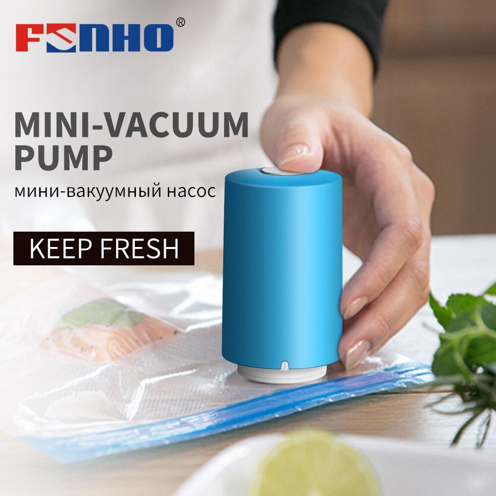 FUNHO USB Automatic Food Vacuum Pump Sealer Machine Handheld Vacuum Packer With 5Pcs Recycle Bags Vacuum Sealer Food Saver