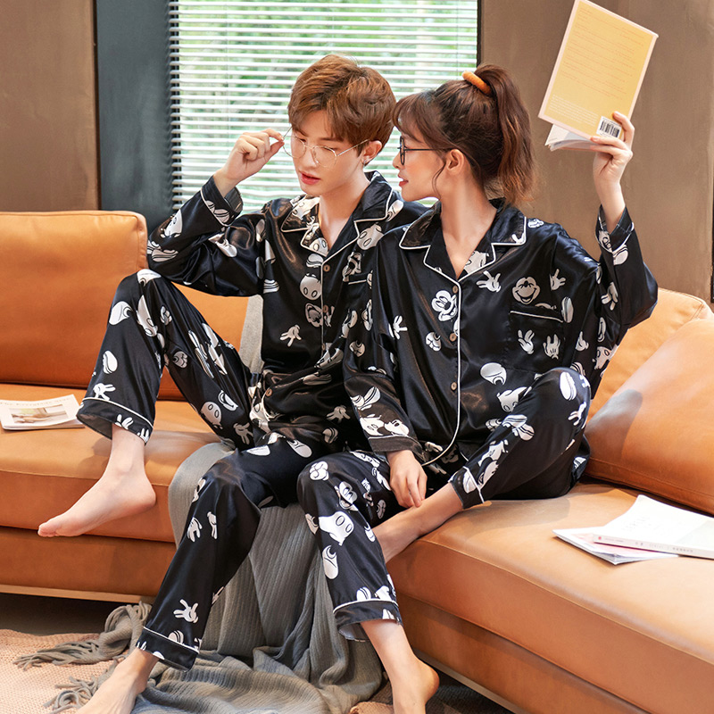 Couple Summer Long Sleeve Casual Homewear Spring And Sutumn Pajama Set