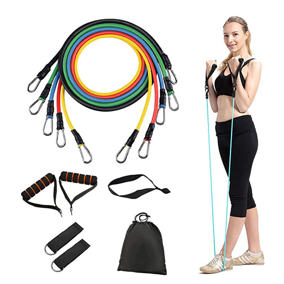 Loogdeel  11PCS/Set Latex Resistance Bands Crossfit Training Exercise Yoga Tubes Pull Rope,Rubber Expander Elastic Bands Fitness
