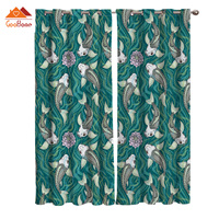 Green Ink Painting Varicolored Koi Fish Window Curtains Living Room Outdoor Fabric Drapes Curtain Home Decor