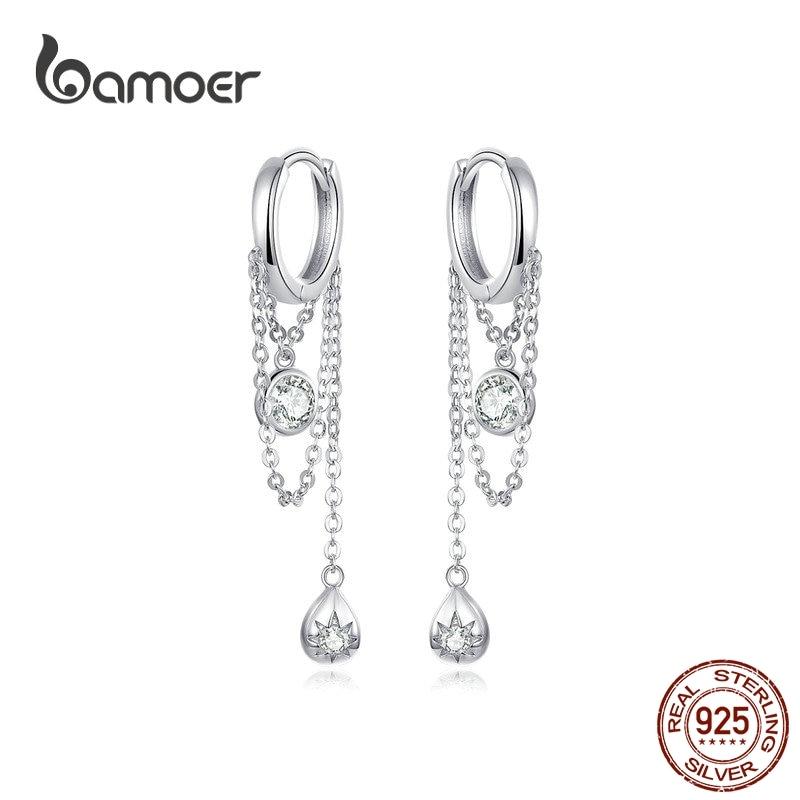 bamoer Waterdrop Round Geometric Chain Dangle Earrings for Women Sterling Silver Female Fashion Jewelry Orecchini SCE638