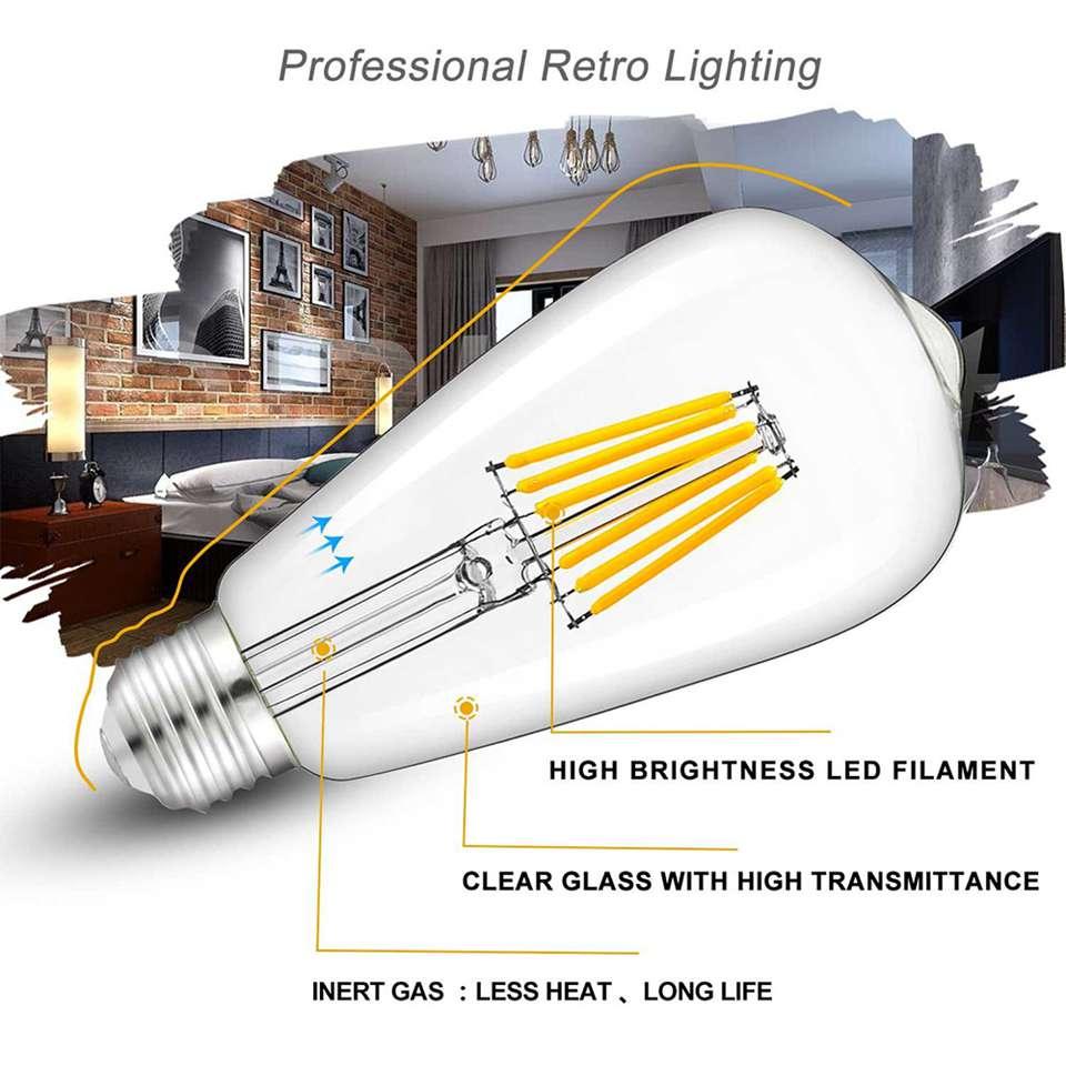 DC 12V24V светильник лампочка St58 E27 Led Bulab Дневной светильник белый 4500k низкая Напряжение 6W электрическая лампочка эдисона 12V светодиодные лампы ...