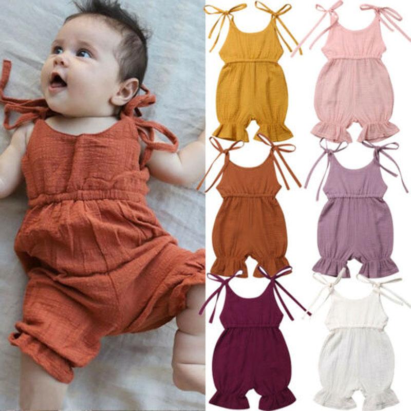 Lioraitiin Новинка модная одежда для новорожденных девочек комбинезон без рукавов однотонный комбинезон наряды комбинезон брюки