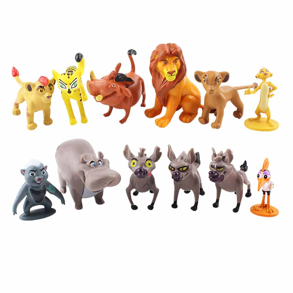 12pcs/set Cartoon The Lion Guard King Kion Simba PVC Action Figures Bunga Beshte Fuli Ono Figurines Doll Toys For Children