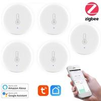 Tuya ZigBee-Sensor inteligente de temperatura, Sensor de humedad, Larga modo de reposo, inalámbrico, Control por aplicación, sistema de alarma con Alexa y Google Home, 5 uds.