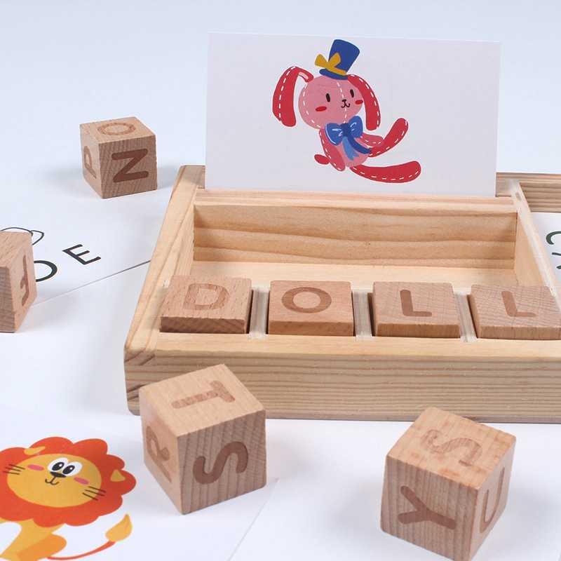 ปริศนา Montessori เด็กการเรียนรู้ของเล่นเด็กเกมภาษาอังกฤษตัวอักษรการสะกดคำเกมไม้ของเล่นการเรียนรู้ของเล่นเด็ก