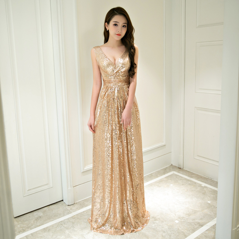 Sexy Champagne Gloden Evening Dresses 2019 Long A Line Sleeveless V Neck Formal Occasion Party Prom Women Dresses Evening Gowns